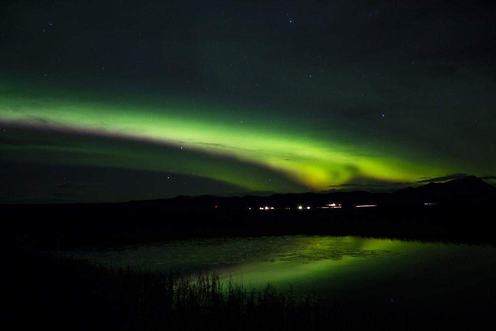 Polarlicht, Mývatn, Island